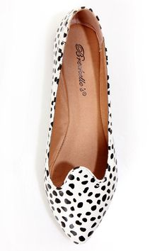 Velma 01 Dalmatian Print Smoking Slipper Pointed Flats - vegan