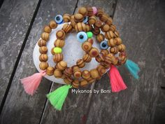 Boho wood bead bracelets by MykonosByBoni on Etsy