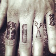 barber knuckle tattoos – Tattoo Tips Hand Tattoos, Knuckle Tattoos, Finger Tattoos, Sleeve Tattoos, Hairdresser Tattoos, Hairstylist Tattoos, Tattoo P, Arm Band Tattoo, Berber Tattoo
