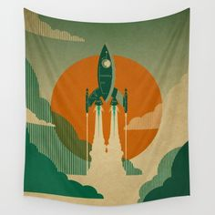 The Voyage (Green) Wall Tapestry
