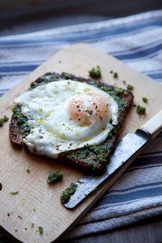 Eggs on pesto, toast