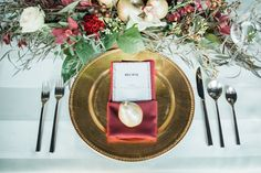 this wedding table decor by Sparks Weddings is chic and opulent, without being pretentious. Deep Burgundy, Burgundy And Gold, Burgundy Color, Wedding Table, Table Decorations, Weddings, Cream, Beautiful, Chic