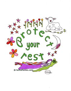 Protect Your Rest by Rachel Awes Visual Journals, Self Compassion, Stick Figures, Female Bodies, Appreciation, Reflection, Etsy Seller, Core, Rest