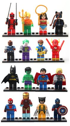16 pieces works with Lego Building Blocks Marvel Super Heroes Avengers Hulk Deadpool Iron Man Action Figures minifigures toys