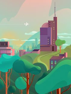 / ambitious campaign for rainforest foundation norway and comfort hotel to influence the biggest influencer / City Illustration, Landscape Illustration, Graphic Design Illustration, Digital Illustration, Graphic Art, Watercolor Free, Vector Design, Vector Art, Sp City