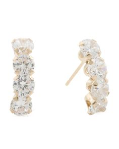 Choice of Shapes Jewelry For Life .925 Sterling Silver /& Pav/é-Set Cubic Zirconia J Shape Half Hoop and Stud Earrings