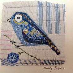 Unframed appliqued bird with embroidery on to vintage quit fragment Bird Applique, Embroidery Applique, Embroidery Stitches, Embroidery Patterns, Quilt Patterns, Old Quilts, Small Quilts, Mini Quilts, Fabric Birds
