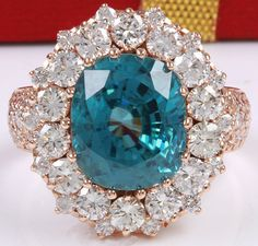 ESTATE 13.54CTW NATURAL BLUE ZIRCON AND DIAMOND RING IN 14K SOLID ROSE GOLD #Cocktail