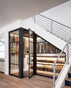 Built-in wine cellar wine storage under the stairs, genius staircase design idea. - Built-in wine cellar wine storage under the stairs, genius staircase design idea! Most staircases ar - Stair Storage, Wine Storage, Storage Ideas, Closet Storage, Storage Shelving, Cupboard Storage, Kitchen Storage, Fridge Storage, Secret Storage