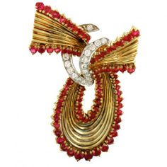 New Focus On | Hollis Reh & Shariff | 1950s Tiffany & Co. Ruby Diamond Brooch