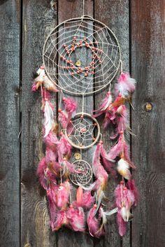 Large Pink Dream catcher, Large Beige dream catcher, boho dreamcatchers, wall decor, wall hanging, handmade dreamcatcher