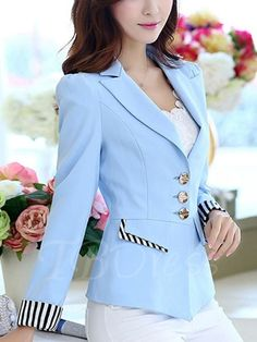 Color Block Notched Lapel Contrast Trim Casual Women's Blazer - Woman Jackets and Blazers