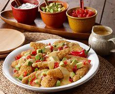 Nachos minus ground beef minus tortilla chips plus PERDUE® SIMPLY SMART® Breaded Chicken Tenders Gluten Free = 1 nutritious, delicious snack!