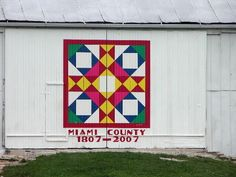 This two-story barn in western Miami County features a colorful quilt pattern known as Joseph's Coat.
