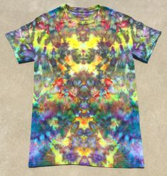 1b5b8b86 Psychedelic Ice Dye Adult Small Festival Tie Dye by Southern Iced Tees  yellow blue purple rainbow