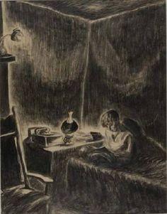 Self Portrait, Wanda Gag Reading, Wanda Gág . Ink Wash, Classic Books, Children's Book Illustration, American Artists, Painting & Drawing, Printmaking, Childrens Books, Book Art, Past