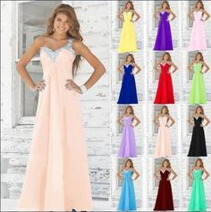 New Long Formal Evening Ball Gown Party Prom Bridesmaid Dresses Stock Size 6-18