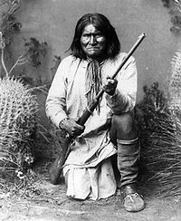 "Geronimo {jur-ahn'-i-moh}, or Goyathlay (""one who yawns""), was born in 1829 in what is today western New Mexico, but was then still Mexican territory. He was a Bedonkohe Apache (grandson of Mahko) by birth and a Net'na during his youth and early manhood. His wife, Juh, Geronimo's cousin Ishton, and Asa Daklugie were members of the Nednhi band of the Chiricahua Apache."