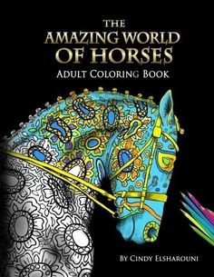 The Amazing World Of Horses Perfect Adult Coloring Paperback Book New