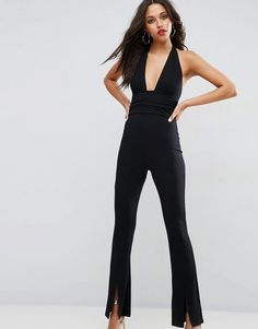 865663e60fc ASOS Jersey Jumpsuit with Halter Neck and Plunge Detail - Black Long  Jumpsuits