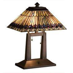 Jeweled Peacock Oblong Desk Lamp