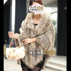 >> Click to Buy << 2014 Lady Natural Knitted Rabbit Fur Poncho Raccoon Fur Collar Winter Women Fur Pashmina Pullover Stoles Outerwear Coats QD0807 #Affiliate