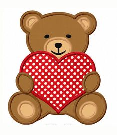 Instant Download Teddy Applique Machine Embroidery Design