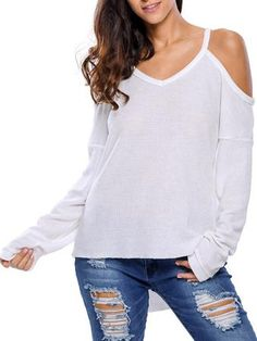 Cold Shoulder Asymmetric Sweater