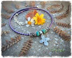 Silver Lucky CROSS Necklace Four Leaf Clover Cross by GPyoga