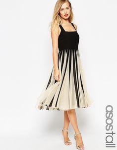 Bild 1 von ASOS TALL – Ausgestelltes mittellanges Kleid mit eckigem Ausschnitt