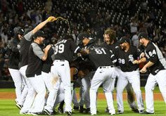 June 27: Chicago White Sox first baseman Jose Abreu (79) reacts with teammates after hitting a walk off two run RBI during the ninth inning at Guaranteed Rate Field.