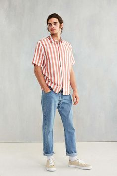 CPO Awning Stripe Short-Sleeve Shirt - Urban Outfitters