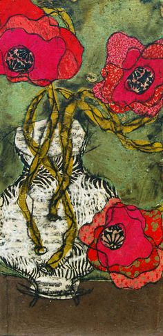 """Vertigree Blossoms"" by Heather Judge. 32""x16"" Original mixed media paper collage on canvas"