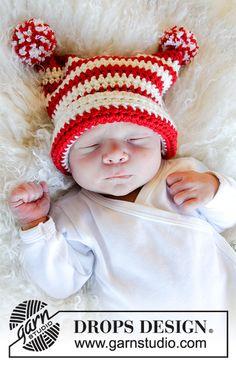 Cappello lavorato all uncinetto per neonati e bambini in DROPS Merino Extra  Fine. Lavorato ee4151a42e36