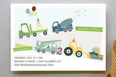Trucks on Parade Children's Birthday Party Invitations by Rebecca Bowen at minted.com