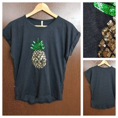 Last few pieces remaining: Pineapple - Plain..., visit http://ftfy.bargains/products/pineapple-plain-black-tee-with-silver-sequins?utm_campaign=social_autopilot&utm_source=pin&utm_medium=pin  #amazing #affordable #fashion #stylish