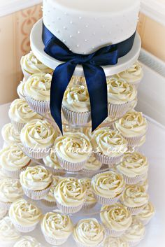 Ivory and navy cupcake tower