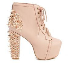 Pre-owned Women's Jeffrey Campbell Pink/Gold Heels ($69) ❤ liked on Polyvore featuring shoes, boots, heels, jeffrey campbell shoes, gold shoes, pre owned shoes, jeffrey campbell and pink shoes