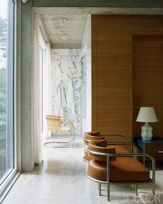Architect Lee F. Mindel's Marble-Clad Bath  A view of the marble-sheathed bath from the master bedroom.
