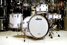 Ludwig Classic Maple 4pc Drum Set Pure White Glass