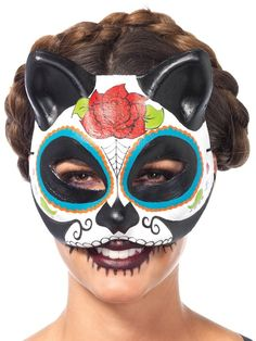 Check out Sugar Skull Cat Mask Multicolor - Wholesale Horror Masks from…