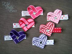 What could be cuter for valentine s day than these mini woven hearts ribbon sculpture hair clips in lollipop stripes or candy stripes a great size for the littlest of littles handmade by ella bella bows Ribbon Hair Clips, Baby Hair Clips, Ribbon Hair Bows, Diy Hair Bows, Diy Bow, Diy Ribbon, Flower Hair Clips, Ribbon Crafts, Ribbon Candy