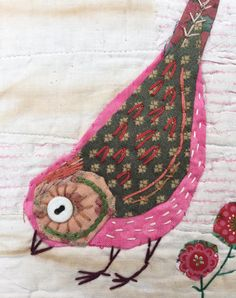 Unframed appliqued bird with embroidery on to vintage quilt fragment Fabric Birds, Fabric Art, Fabric Scraps, Bird Applique, Wool Applique, Textiles, Embroidery Applique, Embroidery Stitches, Bird Quilt