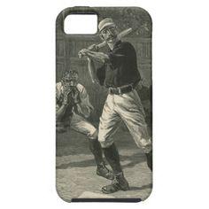 Vintage Sports Baseball Batter Art iPhone 5 Cases