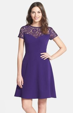 Free shipping and returns on Adrianna Papell Lace & Crepe Fit & Flare Dress at Nordstrom.com. Knit lace and sweetheart bustline enrich the illusion yoke atop a crisp fit-and-flare dress.