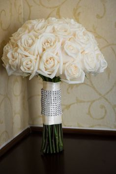 Classic Rose Bouquet | See the elegant wedding on #SMP: http://www.stylemepretty.com/little-black-book-blog/2013/12/16/classic-wilmington-delaware-wedding/ MK Photography