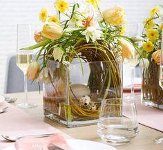 Warenpräsentationsidee für Floristen: Osterfrühstück