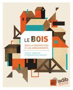 design graphique, illustration, graphisme, maisons, bois.