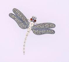 Garnet Dragonfly Marcasite Brooch Marcasite Jewelry, Silver Brooch, Garnet, Brooches, Sterling Silver, Jewels, Granada, Brooch