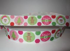 "GROSGRAIN CHRISTMAS SANTA'S GIRL 1"" INCH RIBBON *YOUR CHOICE 1,3 or 5 YARDS"
